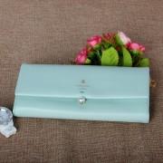 韓版時尚長款真皮皮夾女錢包清新大容量銀包兩折多卡位錢夾柔軟羊皮包