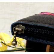 新款中國風真皮雙面繡花錢夾 錢包票夾包中長款手拿包女批發