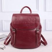 新款復古油蠟牛皮雙肩包真皮女包時尚百搭水桶型學生旅行背包