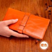 包包女士錢包長款抽帶搭扣錢夾牛皮新款真皮時尚復古容量皮夾