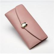 日韓時尚新款女士錢包大容量拉鏈兩折蛇頭長款真皮手拿零錢包