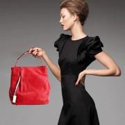 限時特價真皮女包歐美時尚撞色水桶包頭層牛皮手提單肩斜挎包