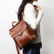 韓版油蠟牛皮女式雙肩包簡約大容量旅行包學院風背包