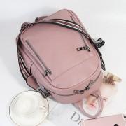 新款真皮女包時尚頭層牛皮雙肩包格紋帶旅行背包書包
