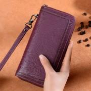 新款真皮錢包女士長款拉鏈韓版皮夾手拿包手機包牛皮