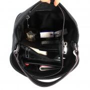 女包新款真皮時尚撞色頭層牛皮寬肩帶水桶包單肩斜跨包包