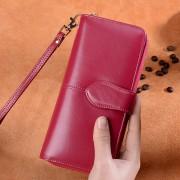 大容量女士長款拉鏈油蠟牛皮復古真皮錢夾手拿包錢包廠家直供