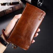 意大利lalpina袋鼠新款男士手拿包油蠟皮錢包時尚純色零錢包