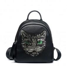 新款雙肩包真皮 休閑時尚牛皮背包趣味珠光貓頭女士包包特色