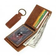 商務復古真皮錢包 多卡位時尚男士rfid錢包 贈送鑰匙扣小禮品批發