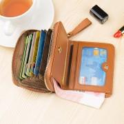 歐美真皮短款小錢包女搭扣印花頭層牛皮零錢包多卡位卡包