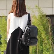 旅行雙肩包女新款歐美時尚荔枝紋頭層牛皮大容量女士背包包包