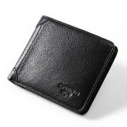 男士錢包真皮橫款青年皮夾頭層牛皮商務卡包潮錢夾