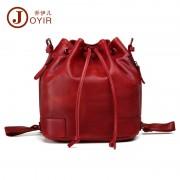 包包女新款  植鞣皮單肩水桶包 歐美復古雙肩背包 真皮女包