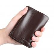 男士錢包男短款真皮豎款皮夾子頭層牛皮韓版青年學生軟皮錢夾