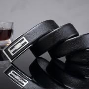 皇家 阿瑪尼高檔品牌真皮頭層牛皮腰帶不銹鋼平滑扣商務男士皮帶