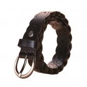 韓版新款女士真皮裝飾腰帶沖孔花邊頭層牛皮針扣皮帶