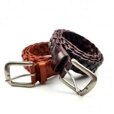 新款男士編織腰帶彈力個性復古針扣皮帶真皮頭層牛皮皮帶