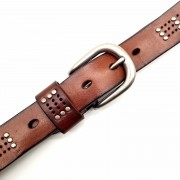 歐美女式時尚裝飾朋克腰帶針扣女士真皮鉚釘皮帶頭層牛皮