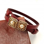 韓版時尚可調節真皮細腰帶裝飾連衣裙小皮帶頭層牛皮對扣珍珠腰鏈