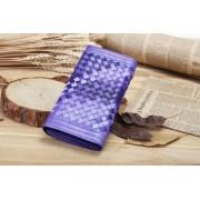 手工編織真皮頭層羊皮女式錢包漸變雙色3折錢夾薄款長款新品潮