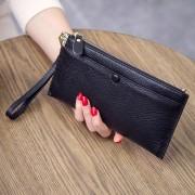 新款錢包女長款真皮多功能頭層牛皮簡約拉鏈手拿包手機錢夾潮