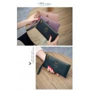 韓版時尚新款真皮錢包女長款真皮款拉鏈錢夾超薄小蜜蜂牛皮夾