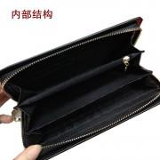 新款真皮女士錢包長款日韓個性繡花皮夾子多功能拉鏈錢夾牡丹