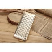 新款羊皮編織真皮女士錢包長款拉鏈皮夾女式錢夾手拿包潮漸變
