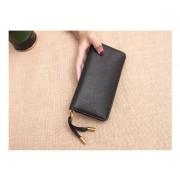 韓版新款拼接頭層牛皮真皮錢包女士拉鏈長款錢包復古手拿錢夾