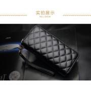 羊皮菱格多功能手拿包雙拉鏈真皮錢包鑰匙包男女零錢手機包