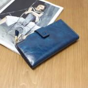 大容量女式錢包女復古頭層油蠟牛皮錢夾流蘇長款皮夾2折手拿錢包