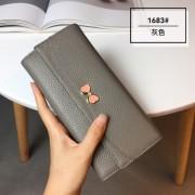 韓版百搭頭層牛皮2折錢包女 新款真皮多功能長款皮夾蝴蝶手拿包潮