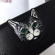 新款手包長款錢包女 真皮荔枝紋歐美女式小貓頭錢夾牛皮夾潮