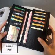 歐美簡約超薄長款錢包女真皮新款氣質搭扣卡位軟牛皮錢夾