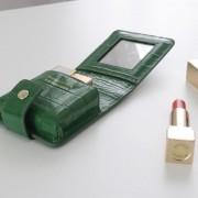 頭層鱷魚紋牛皮口紅包帶鏡子便攜口紅收納小包口紅化妝包