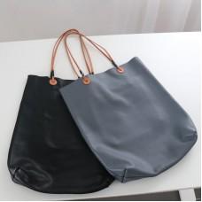 定制真皮包 柔軟輕便牛皮水桶購物包 日韓極簡風單肩撞色女包