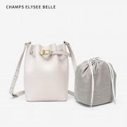 包包女2020新款時尚小眾水桶包單肩斜挎手提子母包真皮女包