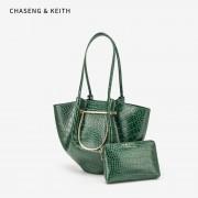 大包包女2020春季新款手提包韓版鱷魚紋包中包明星同款單肩水桶包