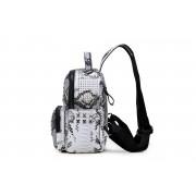 雙肩包女韓版潮情侶書包鉚釘蛇紋鉚釘背包旅游書包學院風
