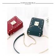 小包包女新款韓版潮時尚個性鉚釘手機包單肩斜挎包少女包