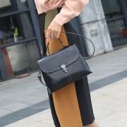 包包女新款時尚法國小眾洋氣手提寬帶斜挎百搭小方包真皮女包
